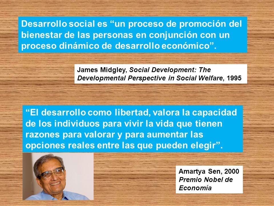 James Midgley, Social Development: The Developmental Perspective in Social Welfare, 1995 Desarrollo social es un proceso de promoción del bienestar de