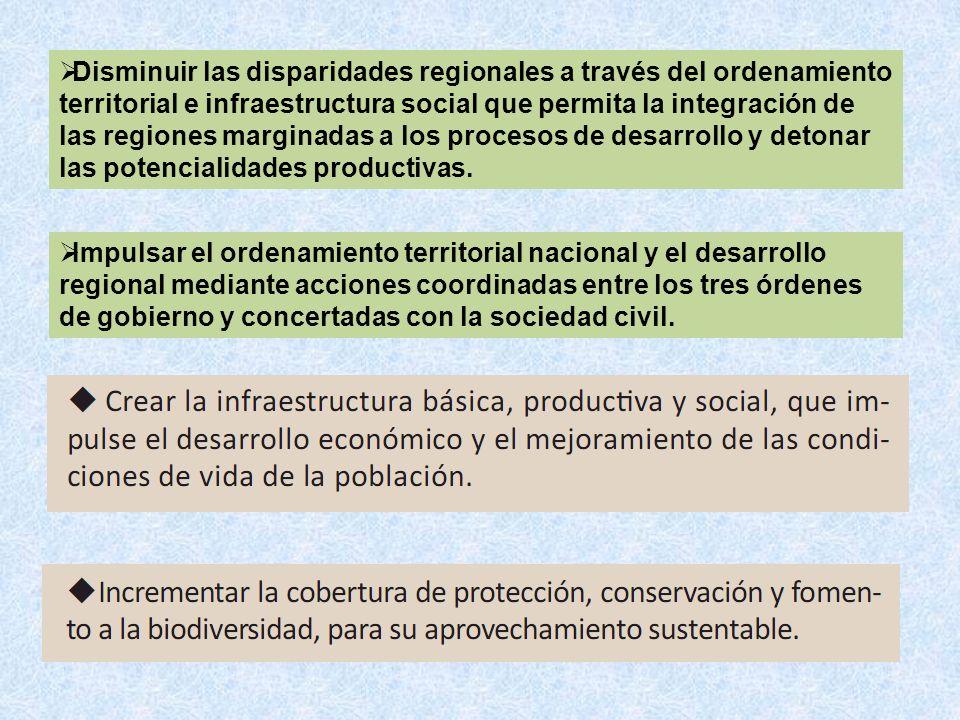 Disminuir las disparidades regionales a través del ordenamiento territorial e infraestructura social que permita la integración de las regiones margin