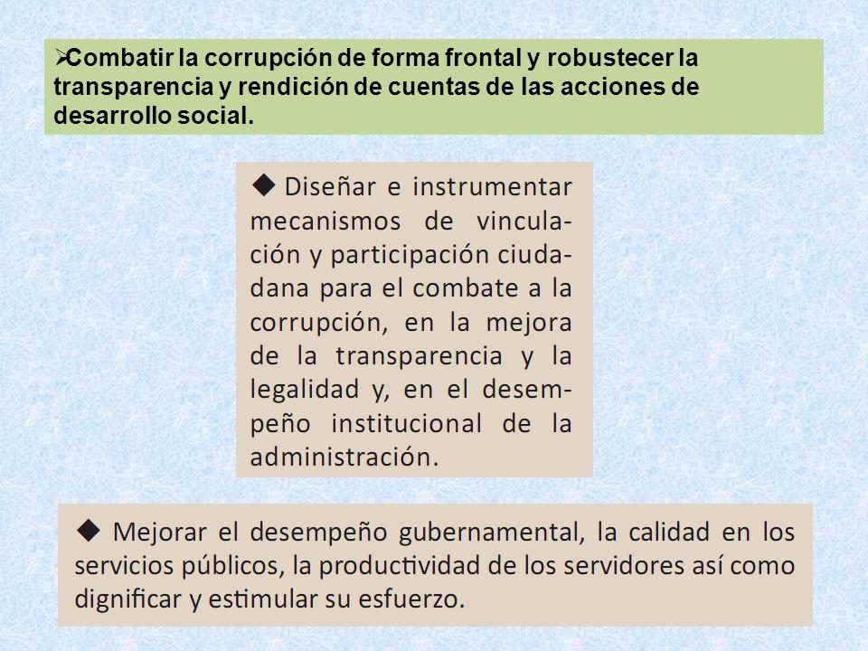 Combatir la corrupción de forma frontal y robustecer la transparencia y rendición de cuentas de las acciones de desarrollo social.