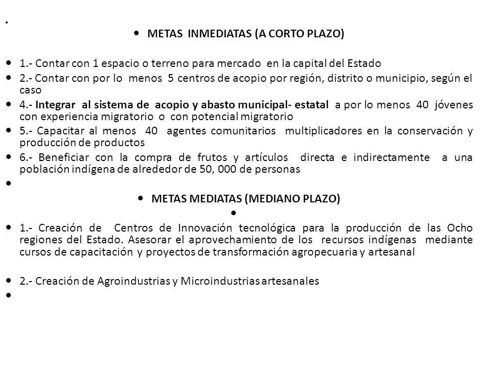 METAS INMEDIATAS (A CORTO PLAZO) 1.- Contar con 1 espacio o terreno para mercado en la capital del Estado 2.- Contar con por lo menos 5 centros de aco