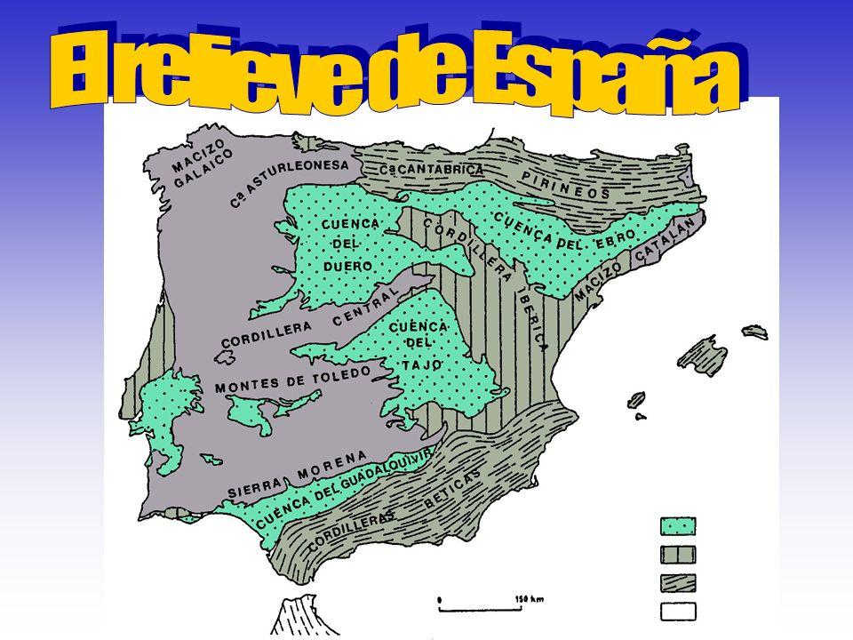 El relieve de España está formada por:.La Meseta Central,.