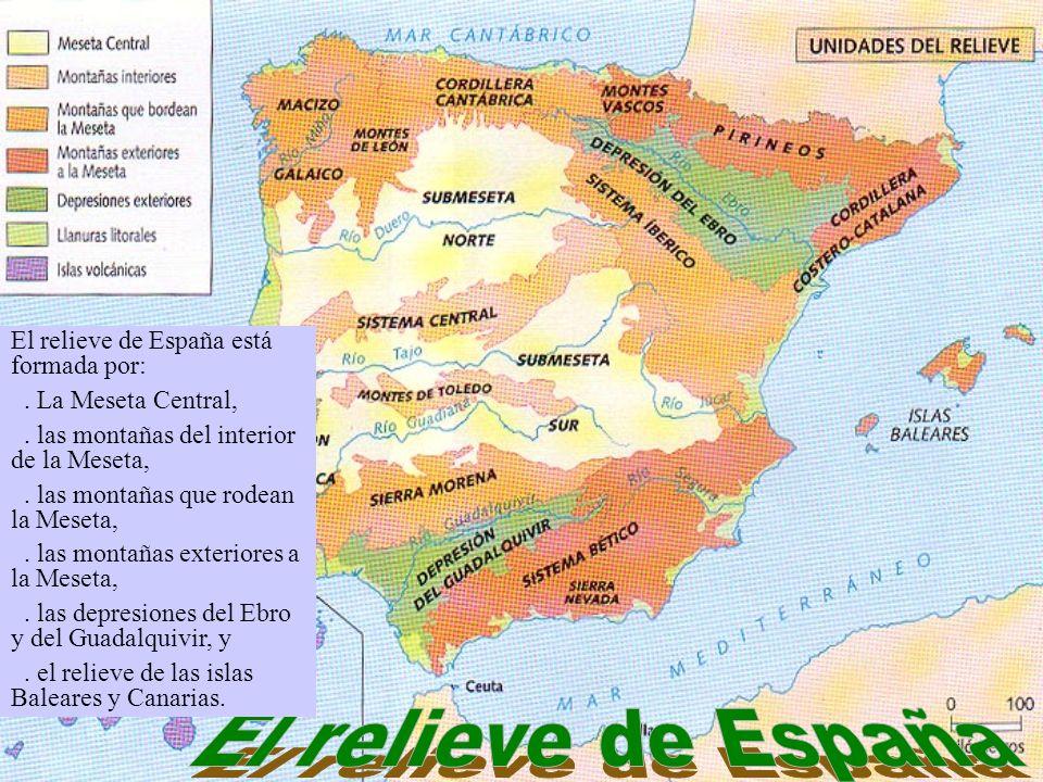 El relieve de España está formada por:. La Meseta Central,. las montañas del interior de la Meseta,. las montañas que rodean la Meseta,. las montañas