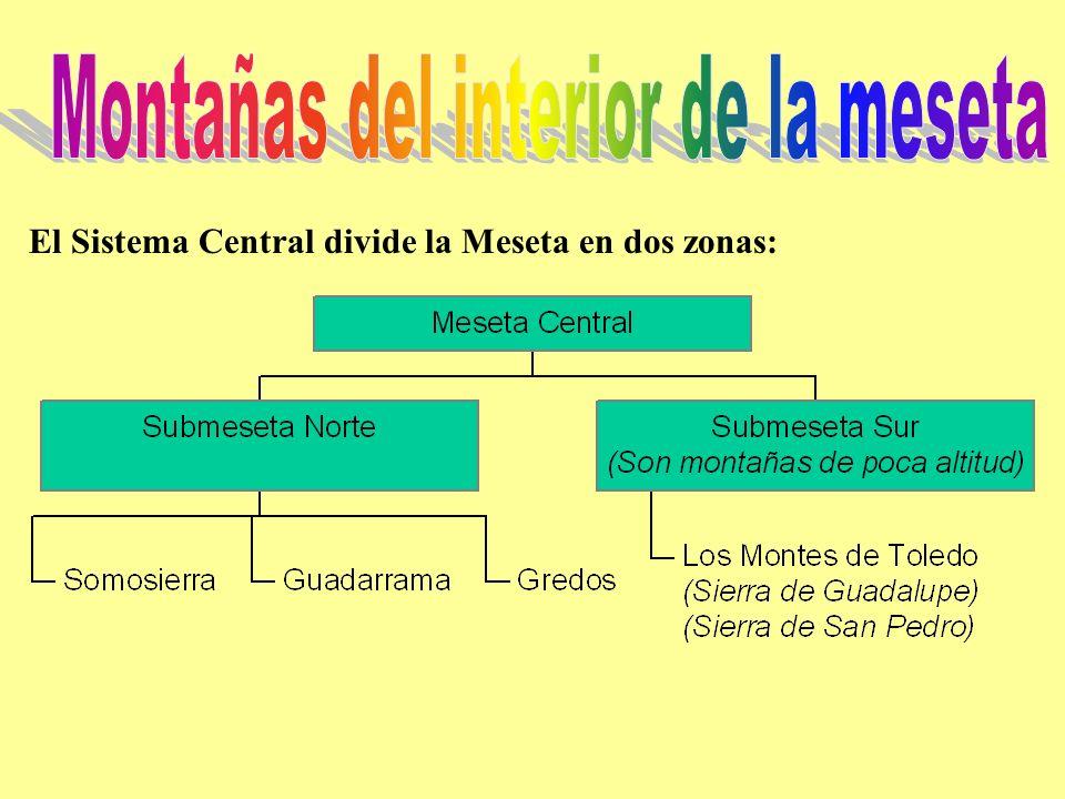 El Sistema Central divide la Meseta en dos zonas: