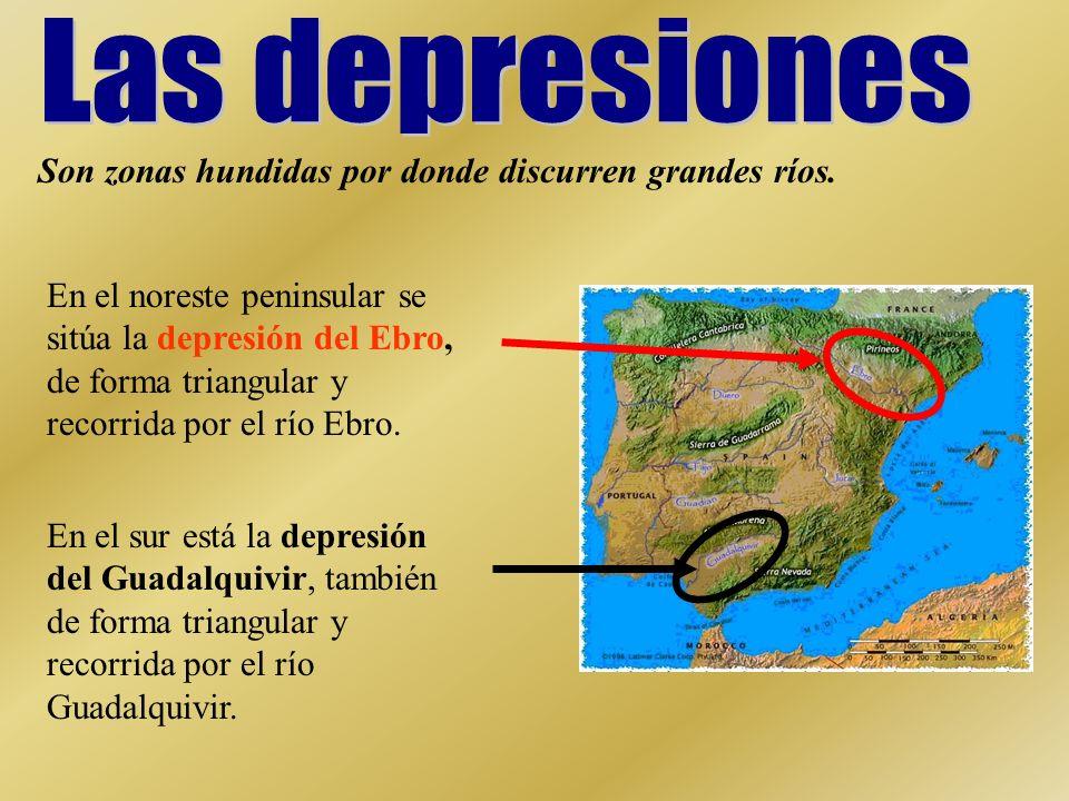 En el noreste peninsular se sitúa la depresión del Ebro, de forma triangular y recorrida por el río Ebro. En el sur está la depresión del Guadalquivir