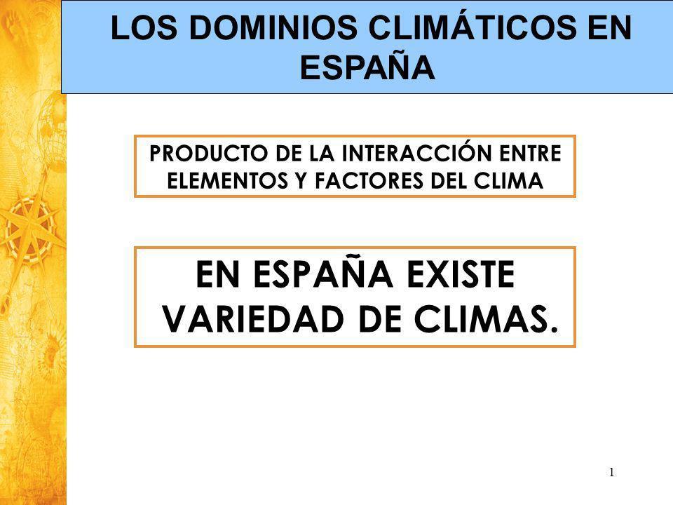 Historia y Ciencias Sociales Geografía 1 PRODUCTO DE LA INTERACCIÓN ENTRE ELEMENTOS Y FACTORES DEL CLIMA EN ESPAÑA EXISTE VARIEDAD DE CLIMAS. LOS DOMI