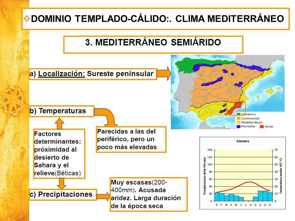 Historia y Ciencias Sociales Geografía DOMINIO TEMPLADO-CÁLIDO:. CLIMA MEDITERRÁNEO 3. MEDITERRÁNEO SEMIÁRIDO a) Localización: Sureste peninsular b) T