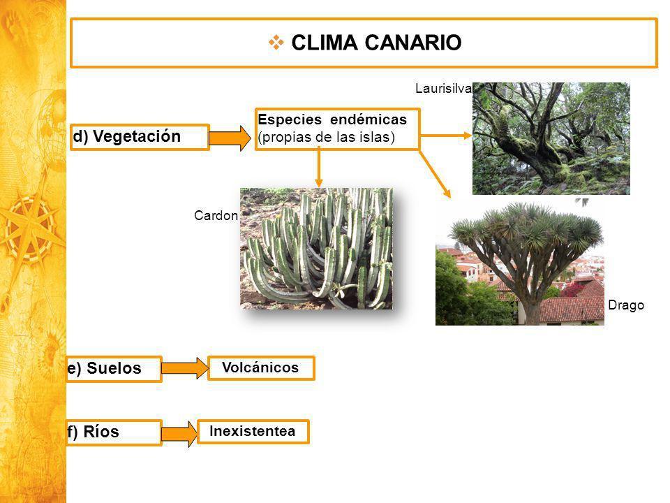 Historia y Ciencias Sociales Geografía d) Vegetación Especies endémicas (propias de las islas) e) Suelos Volcánicos f) Ríos Inexistentea CLIMA CANARIO