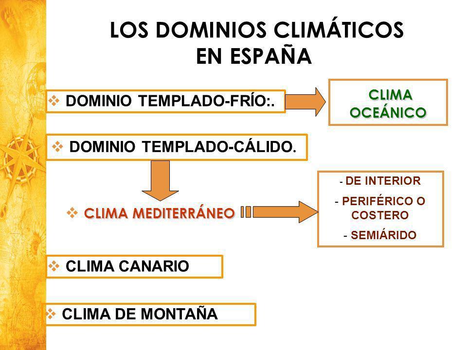 Historia y Ciencias Sociales Geografía 3 DOMINIO TEMPLADO-FRÍO:. DOMINIO TEMPLADO-CÁLIDO. CLIMA MEDITERRÁNEO LOS DOMINIOS CLIMÁTICOS EN ESPAÑA - DE IN