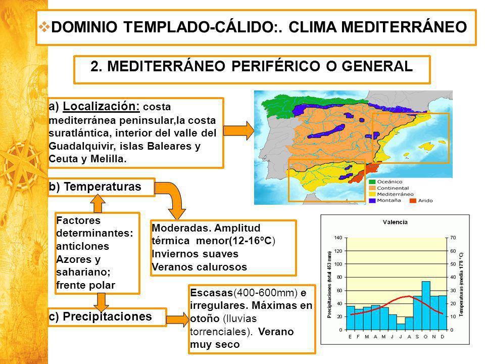 Historia y Ciencias Sociales Geografía 2. MEDITERRÁNEO PERIFÉRICO O GENERAL DOMINIO TEMPLADO-CÁLIDO:. CLIMA MEDITERRÁNEO a) Localización: costa medite