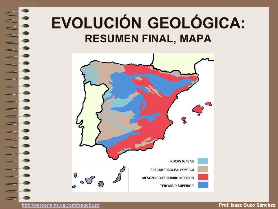 EVOLUCIÓN GEOLÓGICA: RESUMEN FINAL, MAPA Prof. Isaac Buzo Sánchez http://personales.ya.com/isaacbuzo