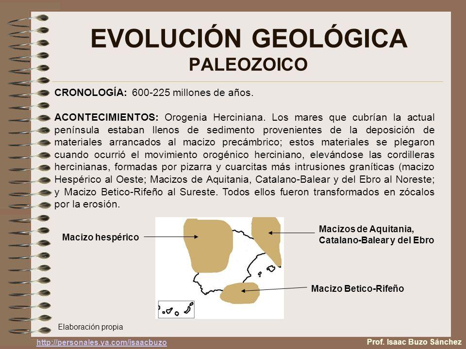EVOLUCIÓN GEOLÓGICA PALEOZOICO Prof. Isaac Buzo Sánchez CRONOLOGÍA: 600-225 millones de años. ACONTECIMIENTOS: Orogenia Herciniana. Los mares que cubr
