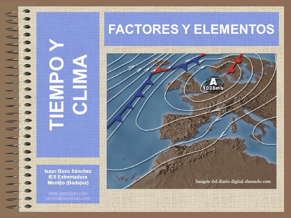 ELEMENTOS CLIMÁTICOS: Presión y viento En el hemisferio norte, y debido al efecto de Coriolis, el viento circula en los centros de baja presión en contra de las agujas del reloj y en los centros de alta presión según las agujas del reloj.
