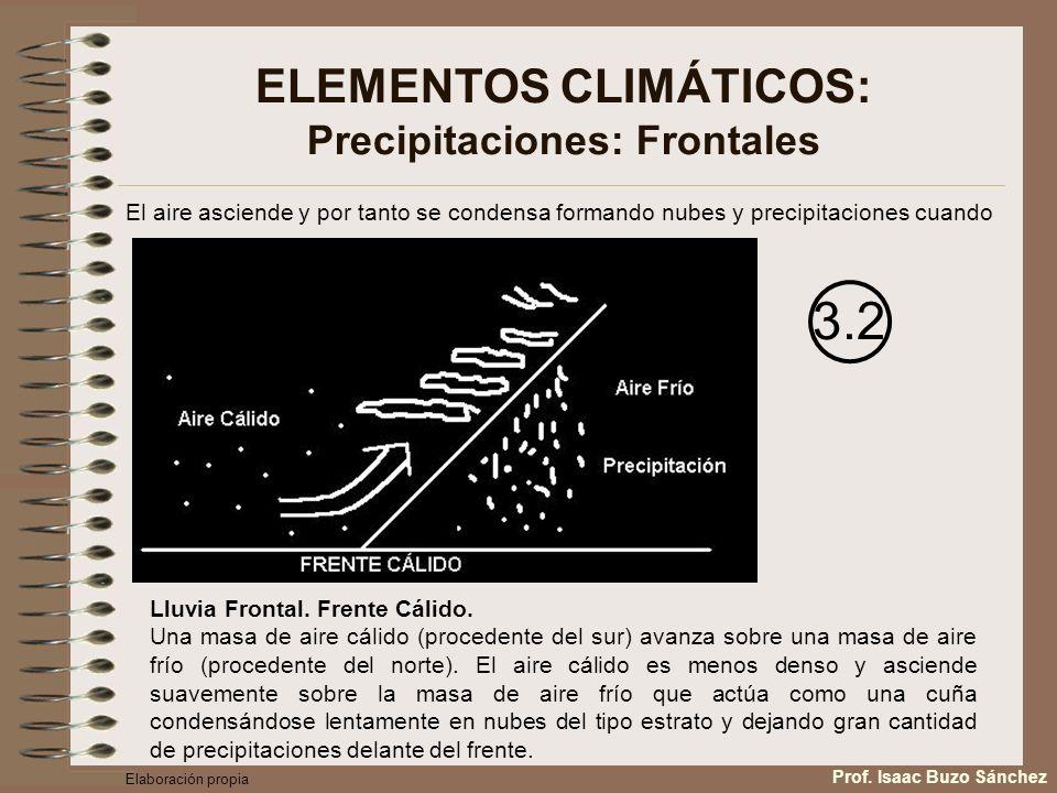 ELEMENTOS CLIMÁTICOS: Precipitaciones: Frontales El aire asciende y por tanto se condensa formando nubes y precipitaciones cuando 3.2 Lluvia Frontal.