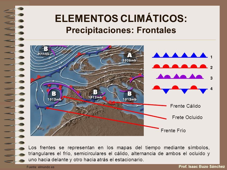 ELEMENTOS CLIMÁTICOS: Precipitaciones: Frontales Los frentes se representan en los mapas del tiempo mediante símbolos, triangulares el frío, semicircu