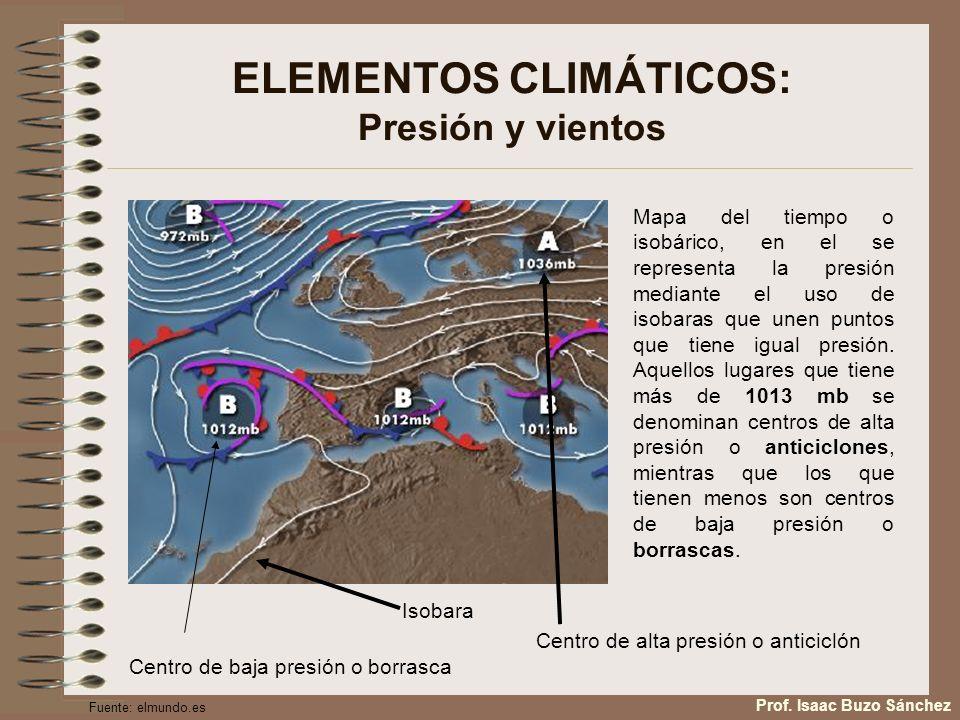 ELEMENTOS CLIMÁTICOS: Presión y vientos Mapa del tiempo o isobárico, en el se representa la presión mediante el uso de isobaras que unen puntos que ti
