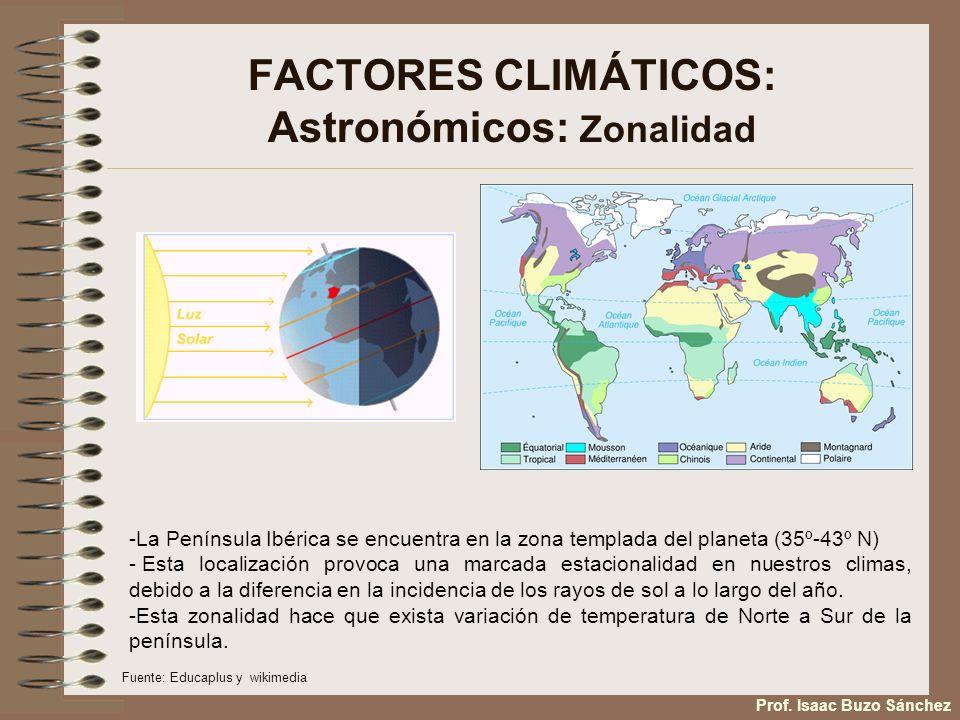 FACTORES CLIMÁTICOS: Astronómicos: Zonalidad -La Península Ibérica se encuentra en la zona templada del planeta (35º-43º N) - Esta localización provoc