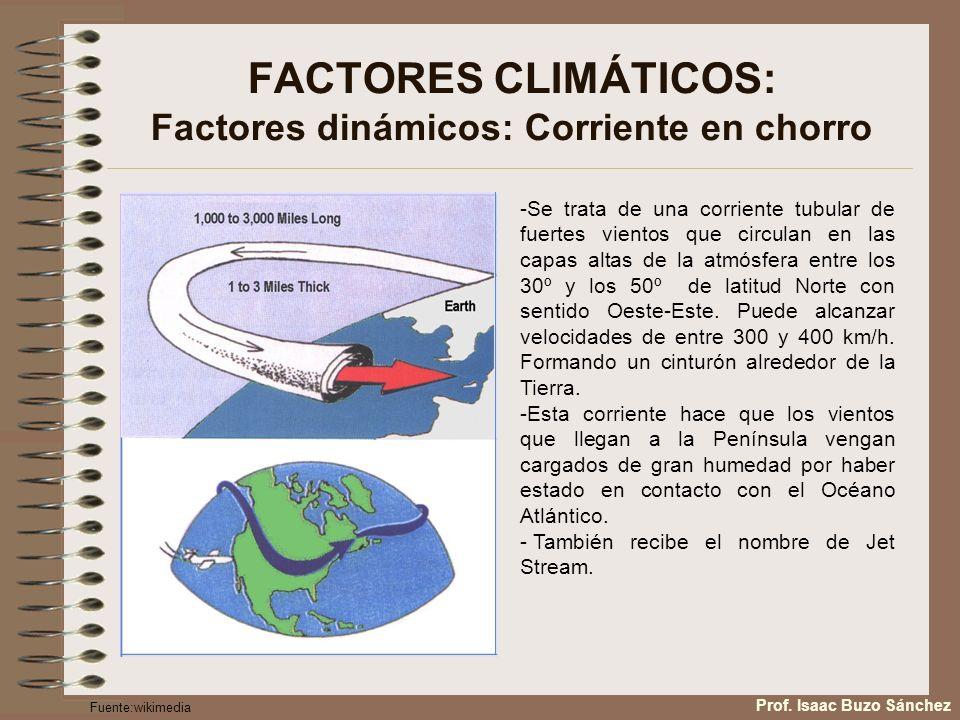 FACTORES CLIMÁTICOS: Factores dinámicos: Corriente en chorro -Se trata de una corriente tubular de fuertes vientos que circulan en las capas altas de