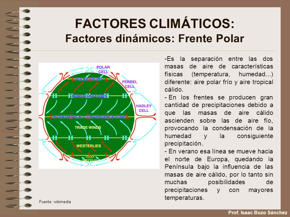 FACTORES CLIMÁTICOS: Factores dinámicos: Frente Polar -Es la separación entre las dos masas de aire de características físicas (temperatura, humedad..