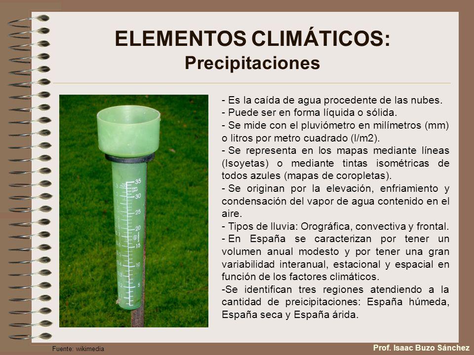ELEMENTOS CLIMÁTICOS: Precipitaciones, Tipos Las precipitaciones se producen por gravedad, cuando el tamaño de la gotita de agua que compone la nube aumenta y su peso es mayor que la fuerza del aire ascendente.