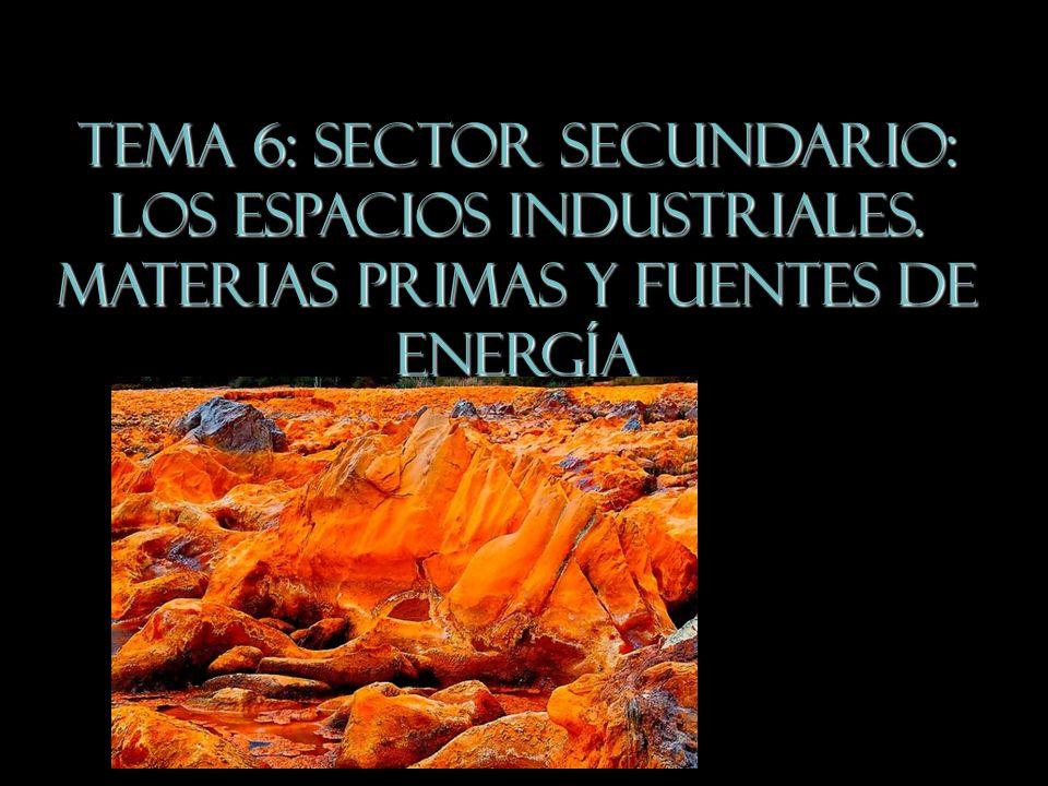 TEMA 6: Sector Secundario: los espacios industriales. Materias primas y fuentes de energía