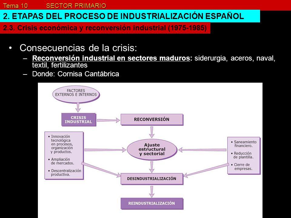 Tema 10 SECTOR PRIMARIO 2. ETAPAS DEL PROCESO DE INDUSTRIALIZACIÓN ESPAÑOL Consecuencias de la crisis: –Reconversión industrial en sectores maduros: s