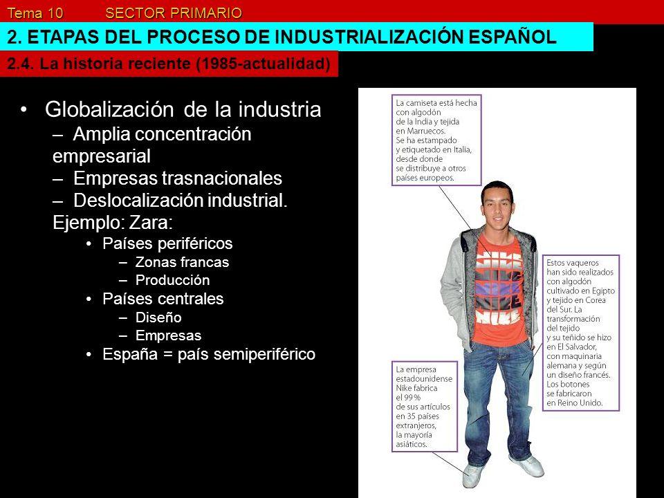 Tema 10 SECTOR PRIMARIO 2. ETAPAS DEL PROCESO DE INDUSTRIALIZACIÓN ESPAÑOL Globalización de la industria –Amplia concentración empresarial –Empresas t