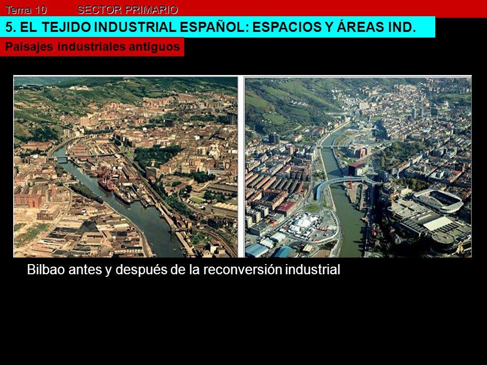 Tema 10 SECTOR PRIMARIO 5. EL TEJIDO INDUSTRIAL ESPAÑOL: ESPACIOS Y ÁREAS IND. Paisajes industriales antiguos Bilbao antes y después de la reconversió