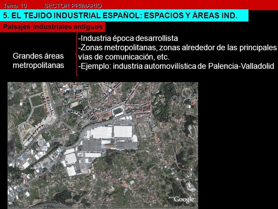 Tema 10 SECTOR PRIMARIO 5. EL TEJIDO INDUSTRIAL ESPAÑOL: ESPACIOS Y ÁREAS IND. Paisajes industriales antiguos Grandes áreas metropolitanas -Industria
