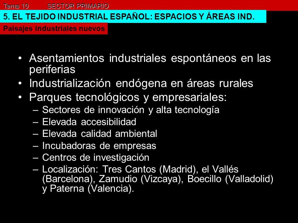 Tema 10 SECTOR PRIMARIO 5. EL TEJIDO INDUSTRIAL ESPAÑOL: ESPACIOS Y ÁREAS IND. Paisajes industriales nuevos Asentamientos industriales espontáneos en