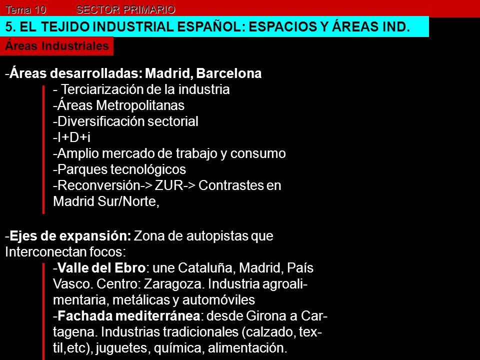 Tema 10 SECTOR PRIMARIO 5. EL TEJIDO INDUSTRIAL ESPAÑOL: ESPACIOS Y ÁREAS IND. Áreas Industriales -Áreas desarrolladas: Madrid, Barcelona - Terciariza