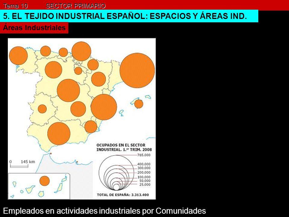 Tema 10 SECTOR PRIMARIO 5. EL TEJIDO INDUSTRIAL ESPAÑOL: ESPACIOS Y ÁREAS IND. Áreas Industriales Empleados en actividades industriales por Comunidade