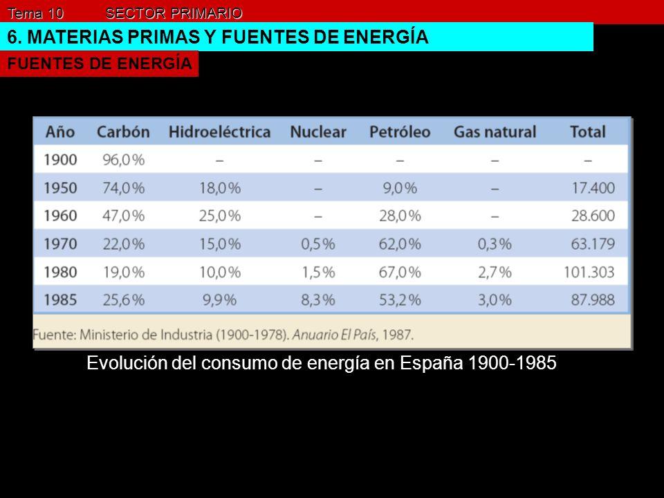Tema 10 SECTOR PRIMARIO 6. MATERIAS PRIMAS Y FUENTES DE ENERGÍA FUENTES DE ENERGÍA Evolución del consumo de energía en España 1900-1985