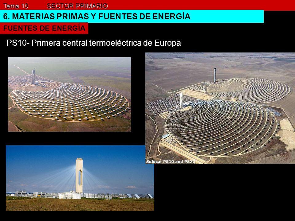 Tema 10 SECTOR PRIMARIO 6. MATERIAS PRIMAS Y FUENTES DE ENERGÍA FUENTES DE ENERGÍA PS10- Primera central termoeléctrica de Europa