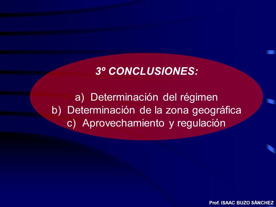 3º CONCLUSIONES: a)Determinación del régimen b)Determinación de la zona geográfica c)Aprovechamiento y regulación Prof. ISAAC BUZO SÁNCHEZ