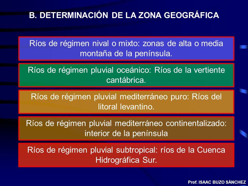 B. DETERMINACIÓN DE LA ZONA GEOGRÁFICA Ríos de régimen nival o mixto: zonas de alta o media montaña de la península. Ríos de régimen pluvial oceánico: