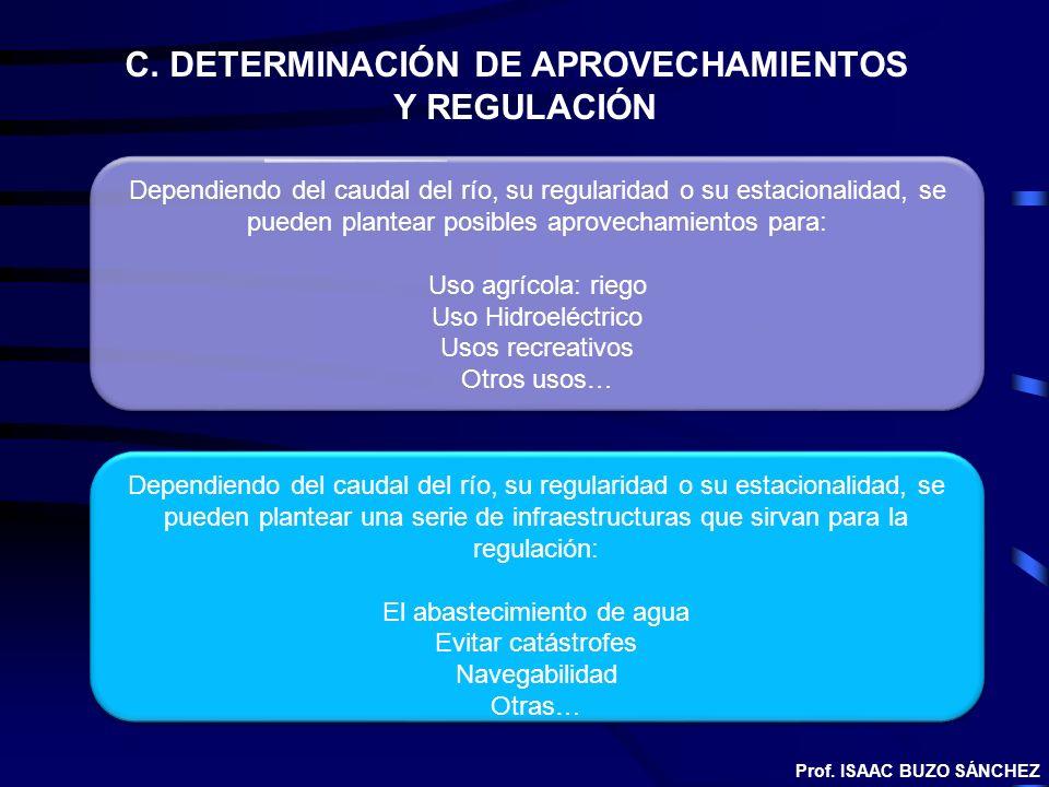 C. DETERMINACIÓN DE APROVECHAMIENTOS Y REGULACIÓN Dependiendo del caudal del río, su regularidad o su estacionalidad, se pueden plantear posibles apro
