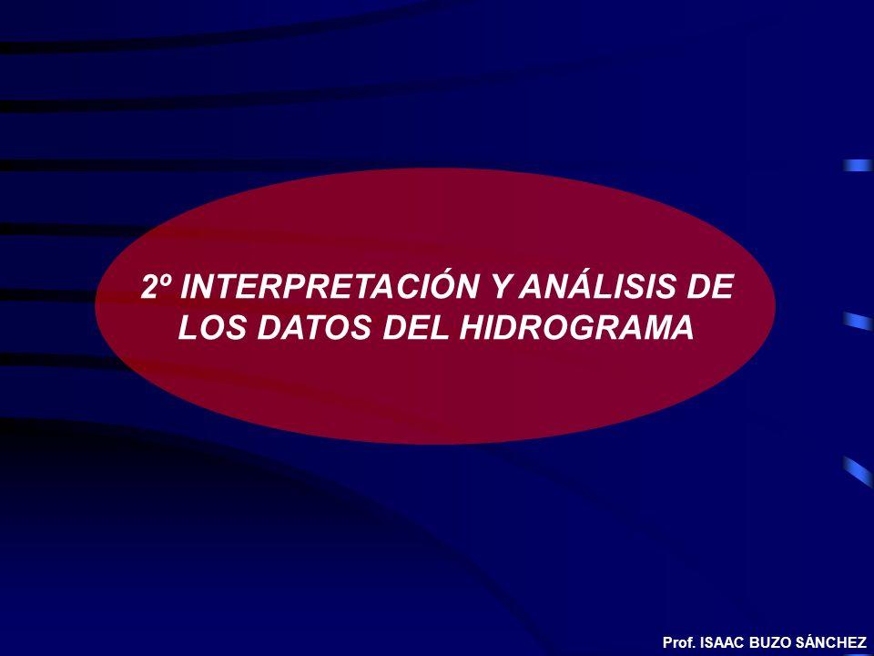 2º INTERPRETACIÓN Y ANÁLISIS DE LOS DATOS DEL HIDROGRAMA Prof. ISAAC BUZO SÁNCHEZ