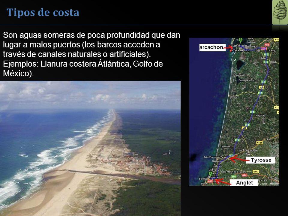 Tipos de costa Son aguas someras de poca profundidad que dan lugar a malos puertos (los barcos acceden a través de canales naturales o artificiales).