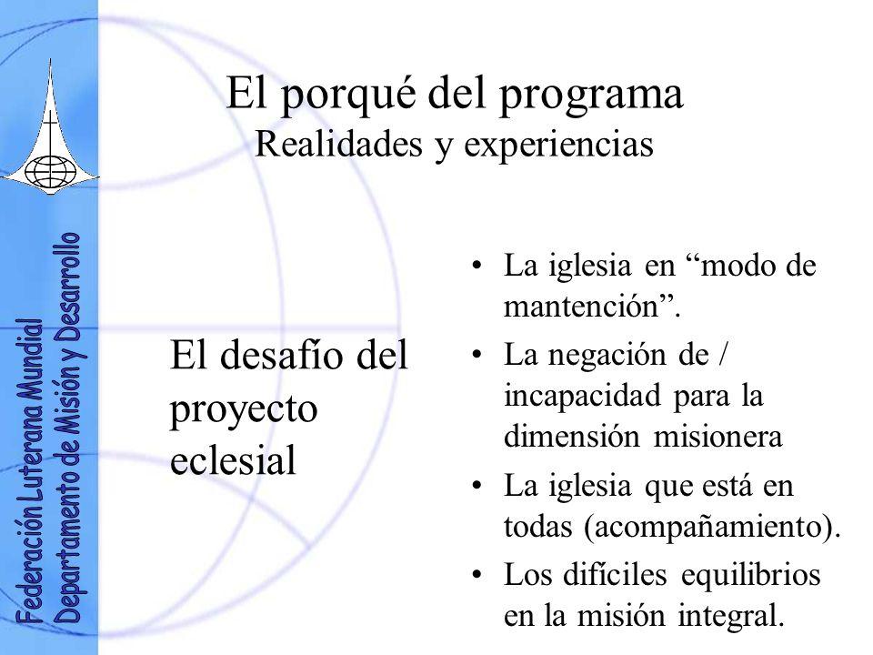 El porqué del programa Realidades y experiencias El desafío del proyecto eclesial La iglesia en modo de mantención.