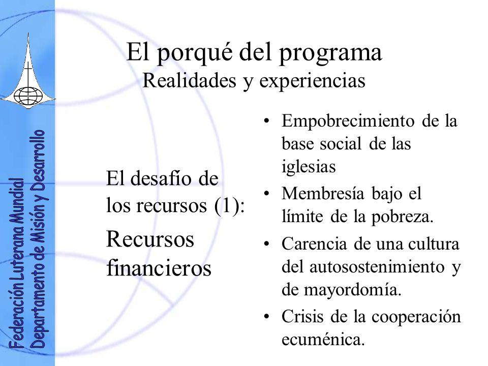 El porqué del programa Realidades y experiencias El desafío de los recursos (1): Recursos financieros Empobrecimiento de la base social de las iglesias Membresía bajo el límite de la pobreza.
