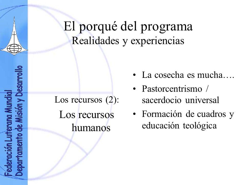 El porqué del programa Realidades y experiencias Los recursos (2): Los recursos humanos La cosecha es mucha….