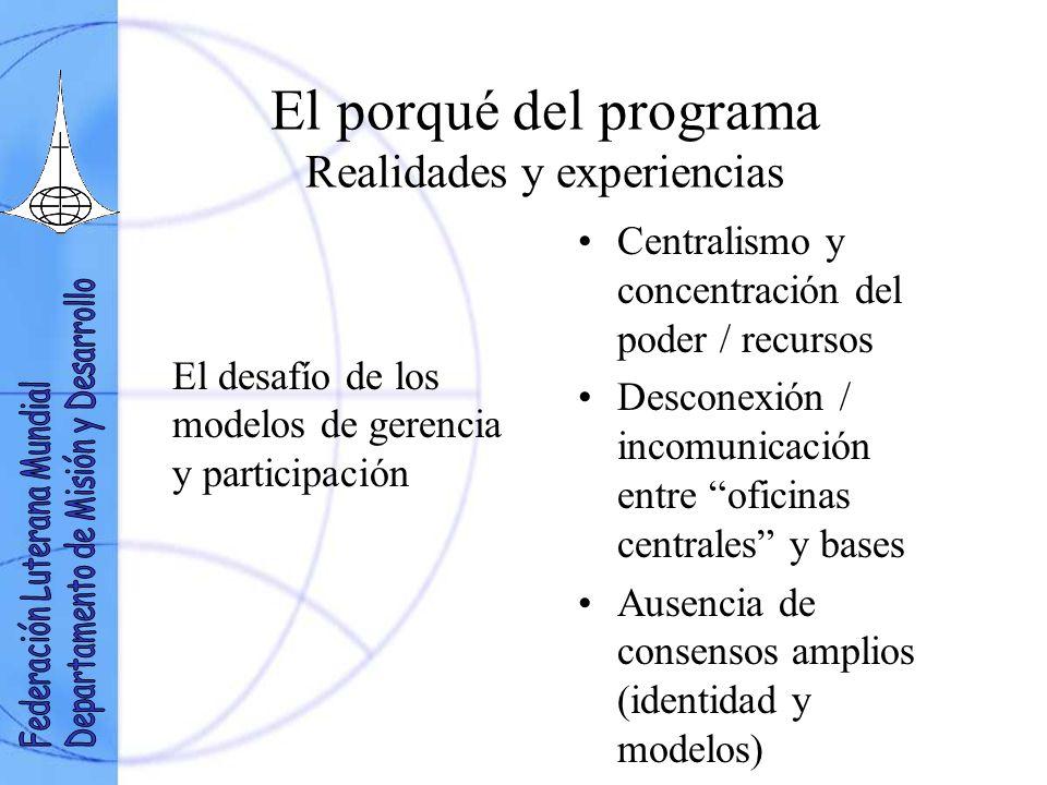 El porqué del programa Realidades y experiencias El desafío de los modelos de gerencia y participación Centralismo y concentración del poder / recursos Desconexión / incomunicación entre oficinas centrales y bases Ausencia de consensos amplios (identidad y modelos)