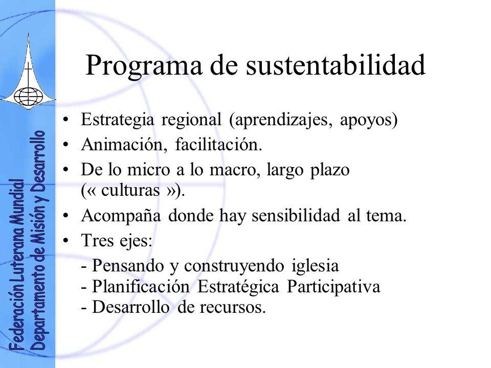 Programa de sustentabilidad Estrategia regional (aprendizajes, apoyos) Animación, facilitación.