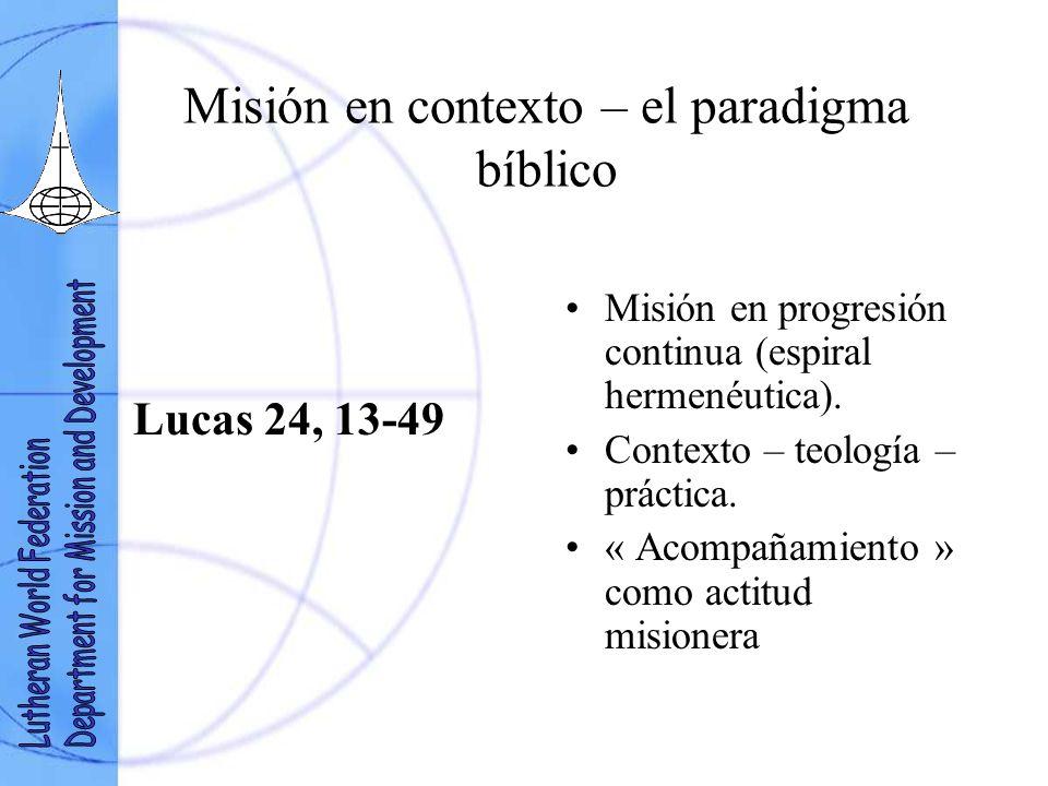 Misión en contexto – el paradigma bíblico Lucas 24, 13-49 Misión en progresión continua (espiral hermenéutica).
