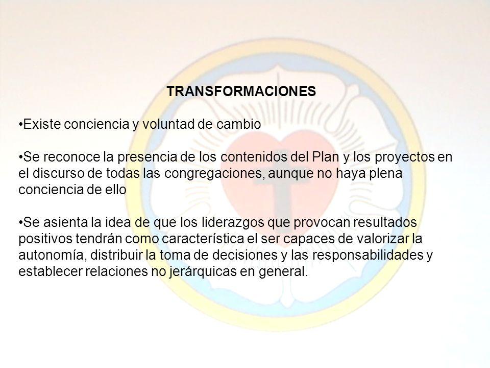 TRANSFORMACIONES Existe conciencia y voluntad de cambio Se reconoce la presencia de los contenidos del Plan y los proyectos en el discurso de todas la