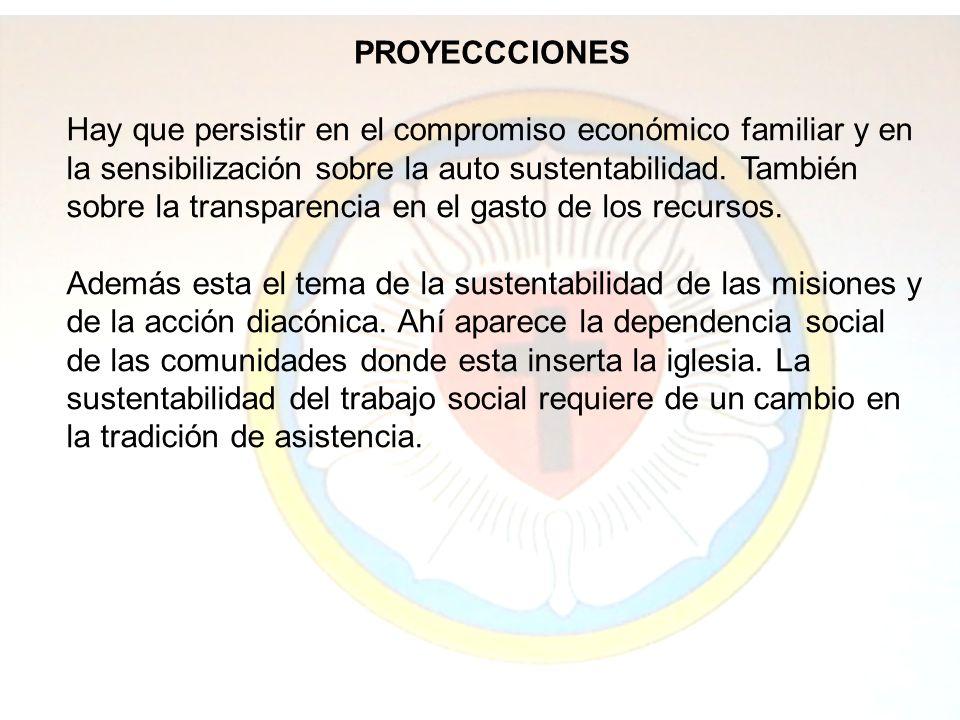 PROYECCCIONES Hay que persistir en el compromiso económico familiar y en la sensibilización sobre la auto sustentabilidad.