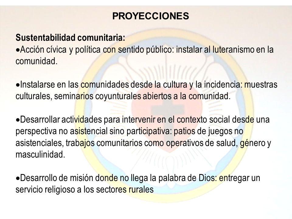 PROYECCIONES Sustentabilidad comunitaria: Acción cívica y política con sentido público: instalar al luteranismo en la comunidad. Instalarse en las com