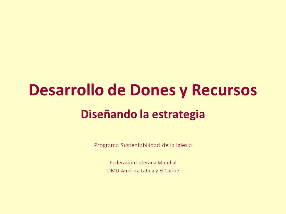 Desarrollo de Dones y Recursos Diseñando la estrategia Programa Sustentabilidad de la Iglesia Federación Luterana Mundial DMD-América Latina y El Cari