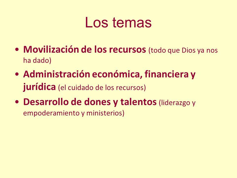 Los temas Movilización de los recursos (todo que Dios ya nos ha dado) Administración económica, financiera y jurídica (el cuidado de los recursos) Des