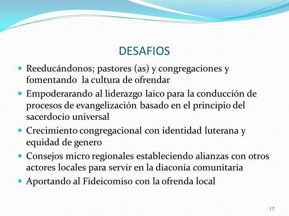 DESAFIOS Reeducándonos; pastores (as) y congregaciones y fomentando la cultura de ofrendar Empoderarando al liderazgo laico para la conducción de proc